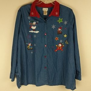 Christmas denim button down shirt size 26/28 w
